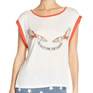 NWT MINKPINK NO REST FOR THE WICKED TEE SLEEP XS